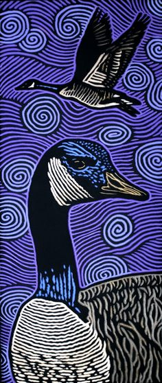 Geese by Lisa Brawn - woodcut lisabrawn.com