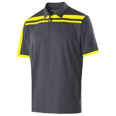 Holloway Men's Carbon/Bright Yellow Closed-Hole Charge Polo