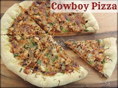 **Cowboy Pizza: 1 Pizza crust, either store bought or homemade, 16 ounce bottle Barbecue sauce cups shredded Mozzarella cups chopped, cooked chicken 2 green onions, chopped 1 tablespoon dried Oregano Pizza Recipes, Great Recipes, Chicken Recipes, Dinner Recipes, Favorite Recipes, Recipe Ideas, Keto Recipes, Dinner Ideas, Pizza