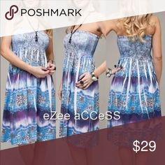 Strapless dress smocked bodice tie dye sublimation HERE are stunning Gorgeous dress by chirtnia love retail is $65.00.sublimation tattoo print.NECKLACE IS NOT THE PART OF AnY DRESS  Eye Catching Dress.Versatile WEAR is as party/clubbing or simple causal sun summer dress. Dresses Strapless