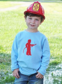 Little Fireman Long Sleeved Nostalgic Graphic Tee, created and printed in the USA