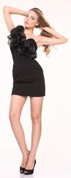 Sexy Black Club Mini Dress Chiffon Ruffle One Shoulder Tight Fitting