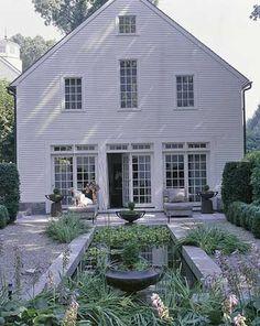 french doors, gravel patio, formal garden, water feature, reflecting pool, water garden