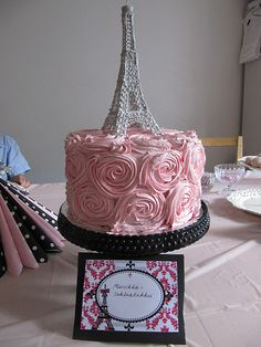 fancy party. eiffel tower with rose cake. love the cakestand too