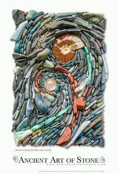 """""""Divine Union of Fire and Water"""" - art by Ancient Art of Stone (Naomi Zettl & Andreas Kunert); Composed of Aventurine, Beach Pebbles, Pipestone, Lapis Lazuli, Ammonite Fossil and a Clear Quartz Crystal Ball: Pebble Mosaic, Stone Mosaic, Pebble Art, Spirals In Nature, Rock Sculpture, Sculptures, Mosaic Madness, Textile Fiber Art, Water Art"""