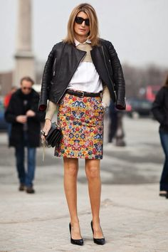 Sarah Rutson - Floral pencil skirt and classic white shirt