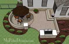 Your getting the idea!  The grill doesn't have to be built in...it could be a grill space.  And the curves can be changed around with what goes with your yard.  I would put the grill toward your neighbors. Curvy Patio with Grill Station- Patio Designs & Ideas