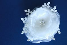 Bridal white flower hair clip, White weddings organza layered flower, white brooch combo, multiple layers clip, pearls, combo *2