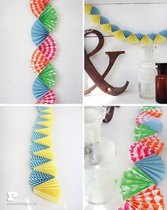 Gör en pappersgirlang - Pysselbolaget - Fun Easy Crafts for Kids and Parents Fun Easy Crafts, Diy And Crafts, Crafts For Kids, Paper Rosettes, Paper Flowers, Diy Party Decorations, Paper Decorations, Diy Paper, Paper Crafts