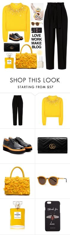 """""""LOVE WORK MAKE BLOG"""" by bartivana ❤ liked on Polyvore featuring A.L.C., Miu Miu, Tod's, Gucci, Thierry Lasry, Chanel and Essie"""