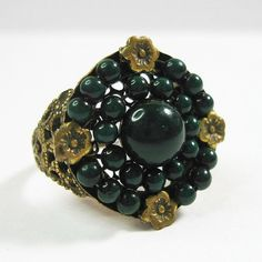 1920s Art Deco Ring Vintage Dark Green Celluloid by WickedDarling, $99.00