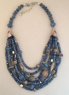 Kyanite and Mixed Silver Necklace