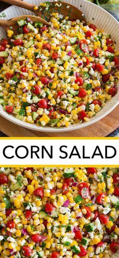 Corn Salad Recipes, Summer Salad Recipes, Salad Recipes For Dinner, Corn Salads, Healthy Salad Recipes, Summer Salads, Veggie Recipes, Appetizer Recipes, Cooking Recipes