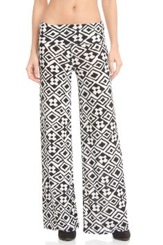 Violet Del Mar Palazzo Pant in Black and White