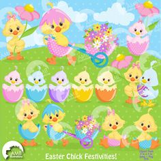 80%OFF Easter Chick Clipart Chickadee Clipart by AMBillustrations