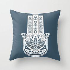 Azul funda de almohada, gitana decoración, cubierta del amortiguador, almohadilla de tiro de Boho, Hamsa acento almohadilla, almohadilla blanco azul, decoración Bohemia, azul Niagara