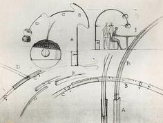 Achille Castiglioni, schizzi per la lampada Arco (1962, © studio museo achille castiglioni)