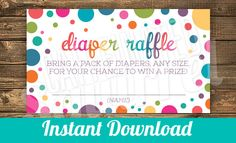 Rainbow Sprinkled with Love Diaper Raffle Cards - Baby Showers, Polka Dot, Multi Color, Pink, Blue, Purple, Green, Yellow, Orange by CaffeinatedSquirrel on Etsy