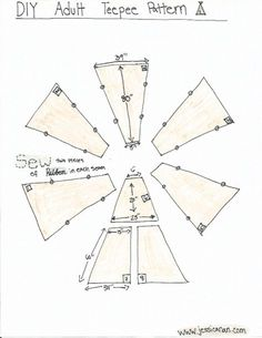 Jessica Nan: DIY Adult Teepee Tutorial This 5 pole teepee tutorial shows how to use ribbon to secure cloth to poles, instead of sewing pockets/pouches for poles. Diy Teepee, Teepee Kids, Teepee Tent, Teepees, Forts, Fun Crafts, Diy And Crafts, Crafts For Kids, Teepee Tutorial