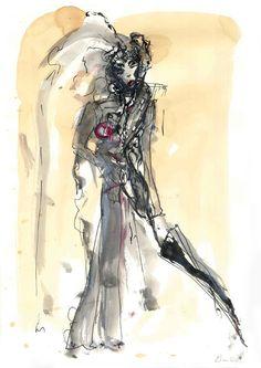 """Don't rain on my dreams"" 2014 watercolour, ink, pen, tea"
