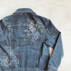 There was an ice storm today so that was just the bees knees. Three blankets and some tea while I work on some spring denim. Painted Denim Jacket, Painted Jeans, Painted Clothes, Hand Painted, Diy Jeans, Denim Jacket Embroidery, Embroidered Denim Jacket, Jean Embroidery, Custom Clothes