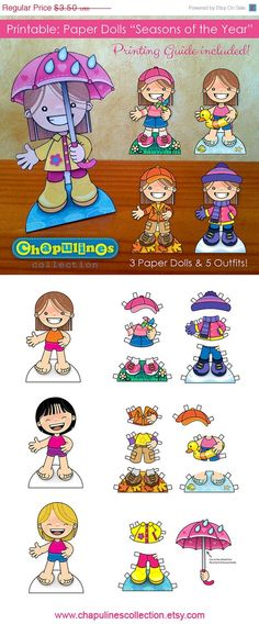 Muñecas de Papel Imprimible Estaciones por ChapulinesCollection