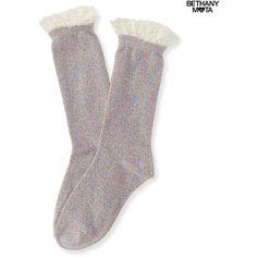 Aeropostale Rainbow Metallic Lace-Trim Crew Socks ($3.50) ❤ liked on Polyvore featuring intimates, hosiery, socks, cream, rainbow socks, aeropostale socks, lace trim socks, crew socks and aéropostale