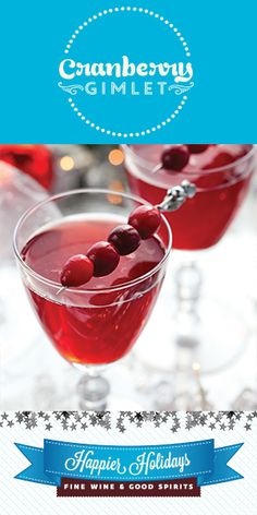 Holiday Cocktails & Drink Ideas - Happier Holidays from Fine Wine & Good Spirits Thanksgiving Cocktails, Holiday Cocktails, Cocktail Drinks, Alcoholic Drinks, Fresh Cranberries, Dry Gin, Good Spirits, Classic Cocktails