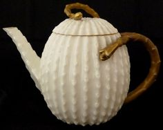 ANTIQUE BELLEEK PORCELAIN CACTUS TEAPOT. Circa 1878-1892            S0 PRETTY!    THIS IS SO MY TASTE.. I THINK THIS IS A BEAUTIFUL PIECE!