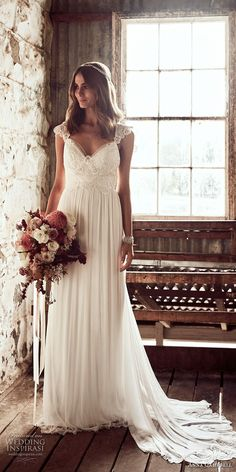 anna campbell 2018 bridal cap sleeves sweetheart neckline heavily embellished bodice romantic soft a line wedding dress open v back sweep train (3) mv -- Anna Campbell 2018 Wedding Dresses