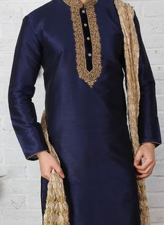 Buy Navy Blue Embroidered Kurta Pyjama online, SKU Code: This Blue color kurta pyjama for Men comes with Embroidered Art Silk. Gents Kurta Design, Boys Kurta Design, Sherwani For Men Wedding, Sherwani Groom, Kurta Pajama Men, Kurta Men, Mens Fashion Wear, Suit Fashion, Mehndi Dress For Boys