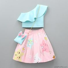 Pre Order: Aqua Blue Crop Top with Pink Printed Skirt Frocks For Girls, Kids Outfits Girls, Little Girl Dresses, Girl Outfits, Easter Dresses For Girls, Girls Frock Design, Baby Dress Design, Baby Frocks Designs, Kids Frocks Design