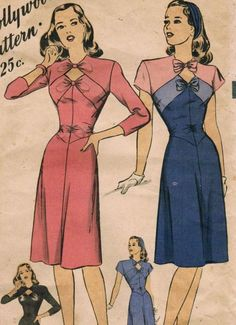 1940s Hollywood 1628 Vintage Sewing Pattern Misses' One-Piece Dress Size 12 Bust 30