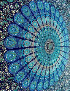 "Beautiful aquamarine mandala pattern. ""$15 Accent Walls with Gorgeous Wall Tapestries"""