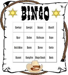 Bingo Sets | Western Themed Bingo Set by QuestAdventures on Etsy