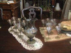 Servizio di bicchieri in vetro di murano color fumo anni 30