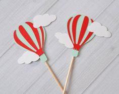 Hot Air balloon cupcake toppers food picks by ThePinkPapermill