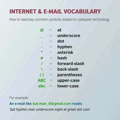 Internet  and email vocabulary