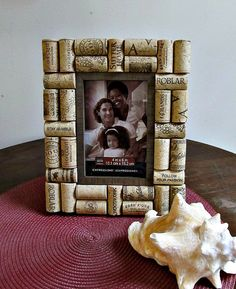 Rustic Brown Wine Cork Picture Frame 4 x 6 by LizzieJoeDesigns ♡