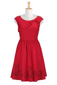 I <3 this Bow tie cats poplin dress from eShakti