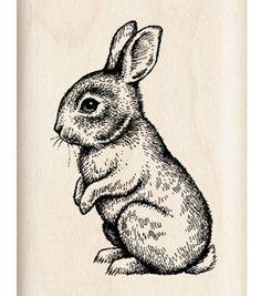 Inkadinkado Mounted Rubber Stamp J-Baby Bunny, gorgeous vintage bunny, I love him xxx Bunny Tattoos, Rabbit Tattoos, Rabbit Drawing, Rabbit Art, Animal Drawings, Pencil Drawings, Art Drawings, Easter Drawings, Stamp Printing