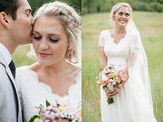 Modest lace and chiffon wedding dress custom made from Avenia Bridal
