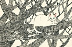Midori Yamada - cat in a tree - love the tangles on the branches
