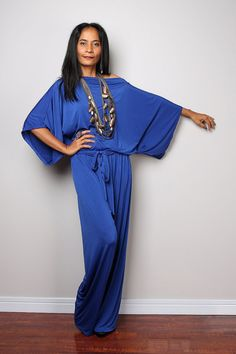 Combinaison bleu - bleu Royal pull robe Maxi : Collection Chic & décontractée