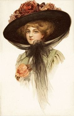 Beautiful Woman Big Rose Hat Lady Black Lace Plain Back Vtg Antique Postcard | eBay