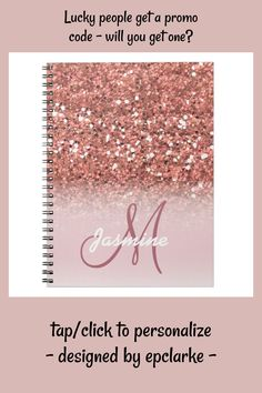 Printer Ink Cartridges, Office Essentials, Lined Page, Custom Notebooks, Rose Gold Glitter, Pink And Green, Create Yourself, Girly, Sparkles