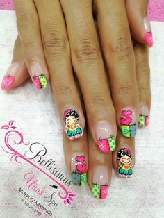 Stephenie o Valentina Hot Nails, Hair And Nails, Ruby Nails, Magic Nails, Bright Nails, Girls Nails, Disney Nails, Cute Nail Art, Beautiful Nail Designs