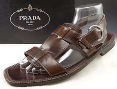 0a243d1928937 PRADA-sz-9-5-LEATHER-STRAP-BUCKLE-SANDALS-600-MENS-BROWN-fits-US-10-5-395