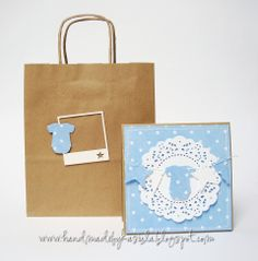 Narodzinowy komplet Diy And Crafts, Paper Crafts, Baby Boy Or Girl, Baby Cards, Christening, Paper Shopping Bag, Stampin Up, Card Ideas, Baby Shower