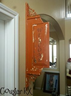 Saw this on My Repurposed Life. Repurposed cupboard and some brackets. Love it!